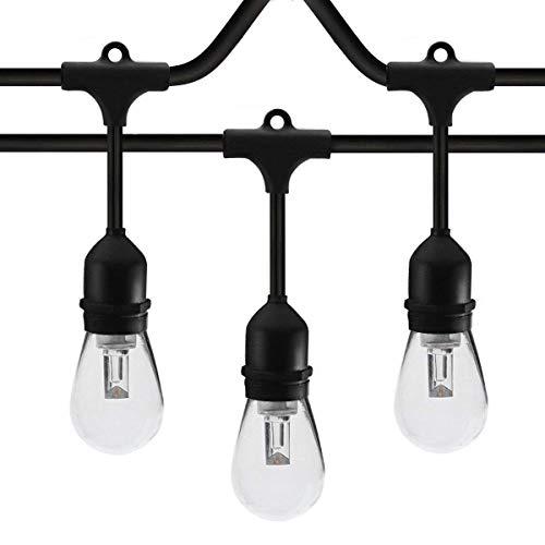 SUNTHIN 48ft LED String of Lights with 15 Pcs E26 Sockets and Hanging Loops 18 Pcs 0.9 Watt S14...
