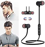 ofdhfsfb Magnetic Neck-Mounted Bluetooth Headset M9 Bluetooth 4.2, Sweatproof Sport Headset, in Ear Noise Reduction Design, Compatible with Bluetooth-Enabled Devices Hands-Free Driving Call (Black)