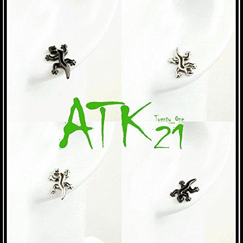 『[ATK21] 両耳用(2個セット) トカゲ モチーフ ボディピアス 軟骨ピアス メンズ レディース ユニセックス ステンレス Surgical Steel316L アクセサリー (シルバー)』のトップ画像