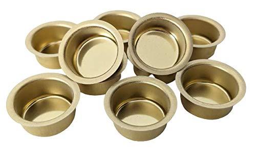 10er Set Kerzentüllen aus Metall, Gold, 20mm., Kerzeneinsatz, Kerzenhalter für Baumkerzen, Tafelkerzen und Teelichter