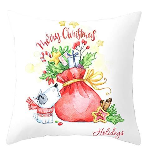 KnSam 40x40cm Funda de Almohada Cuadrado, Fundas para Cojines Protectores Merry Christmas Bolso Perro, Poliéster, Decoración para Sofá, Blanco (Sin Almohada Interior)