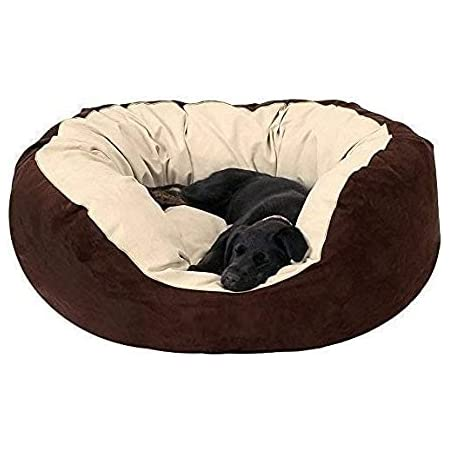Gorgeous Soft Reversible Round Cats and Dogs Bed Cream Brown-Small