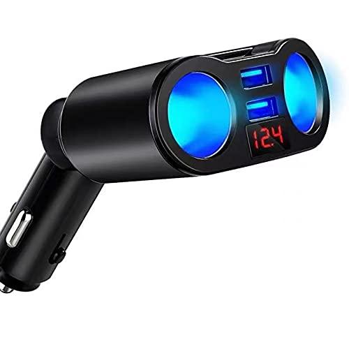 XXGG Adaptador divisor de cargador de coche USB, 2 tomas de corriente multi con interruptor de voltímetro LED puerto USB dual