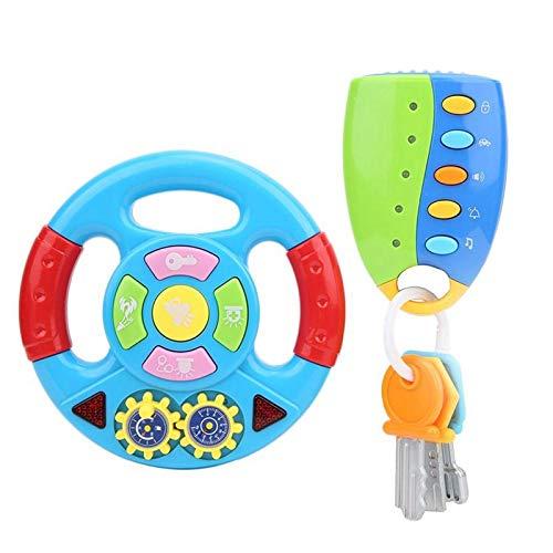 Ctzrzyt Juguete de Volante ElectróNico con SimulacióN de Luz, Sonido de ConduccióN de Coche, Volante, NiiOs, MúSica, Juguete Educativo