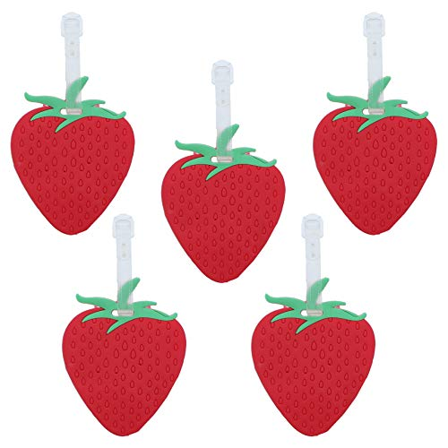 Fruit Luggage Tag with Clear Strap Suitcase ID - Set of 5 (Red Strawberry)