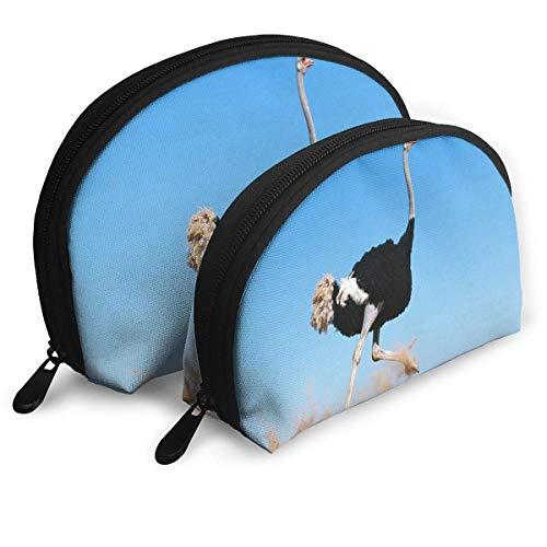 Trousse de Maquillage Autruche Enfants Recherche Portable Organisateur de Toilette Shell pour Les Femmes de Vacances 2 Pack