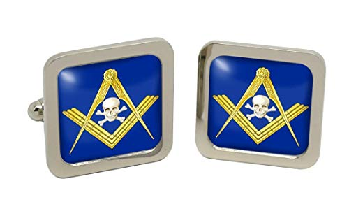 Mort d'un symbole maçonnique pour homme Boutons de manchette-Carré-Chromé-Coffret cadeau