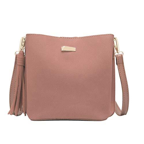CRAZYCHIC - Damen Kleine Umhängetasche Handtasche - Beuteltasche Schultertasche Wildleder PU - Hobo Bucket Bag - Franse Quaste Abendtasche - Mode Elegant - Rosa