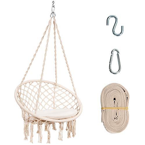COSTWAY Hängesessel mit Sitzkissen, Hängestuhl zum Aufhängen, Hängesitz bis 136 kg belastbar, Schaukelstuhl inkl. Hängeseil und Haken, Hängeschaukel für Innen- und Außenbereiche, beige