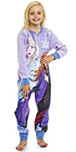 Disney Pijama Entero Niña, Mono Forro Polar Frozen, Onesie de Manga Larga con Dibujos De Anna y Elsa Edades 18 meses-10 años (Morado, 7-8 años)