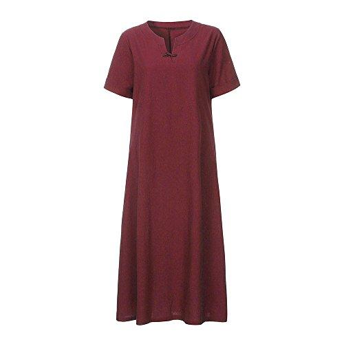 Kleid Damen Elegant Boho Große Größen Kurzarm V-Ausschnitt Solid Bettwäsche Aus Baumwolle Freizeitkleidung