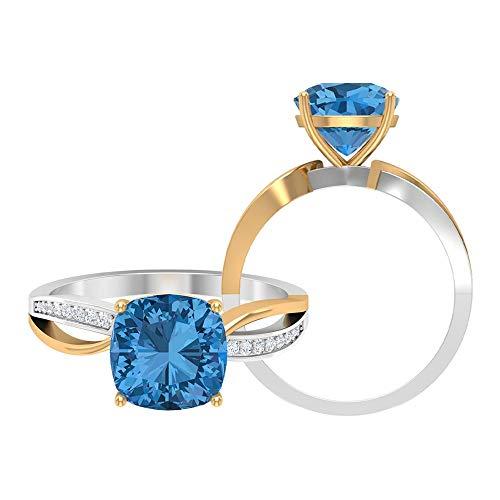Anillo solitario de dos tonos de zafiro azul ártico creado en 2,50 CT con acento moissanita, anillo de vástago dividido (calidad AAAA), 14K Oro amarillo, Size:EU 52