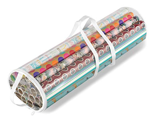 Whitmor Clear Zippered Storage for 25 Rolls Gift Wrap Organizer