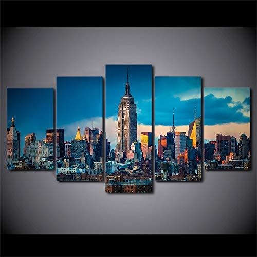 5 paneles de pintura en lienzo Arte de la pared Arte impreso en HD Ciudad de Nueva York Empire State Building Cuadros de pared para...