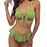 chiphop Costume da Bagno con Volant Donna Push Up Imbottito Reggiseno Bikini Donna Due Pezzi Stampa Tinta Unita Swimwear Abiti da Spiaggia Costumi A Bagno Mare