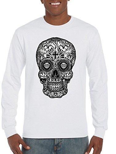 Shop4Ever Calavera día de los Muertos Camisas Camisa de Manga Larga en Blanco y Negro