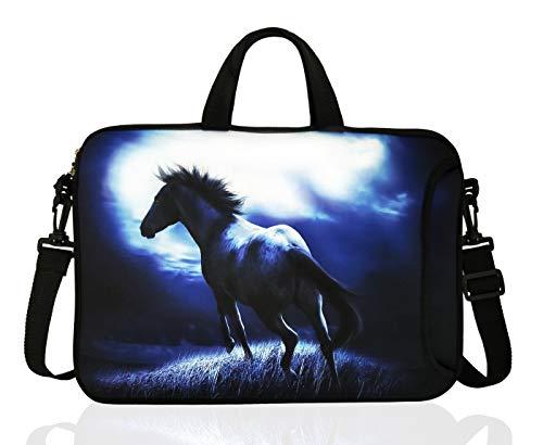 14-Inch Neoprene Laptop Shoulder Bag Case Sleeve for 13.3 14' Inch Chromebook (Blue Horse)