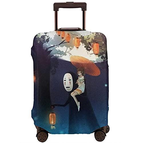 Anime Spirited Away No Face Man Cartoon Valigia Protector Caso Caso Lavabile Antigraffio Stampa 3D Design 4 Dimensioni per la maggior parte dei bagagli viaggio Borsa Protettiva, bianco, M,
