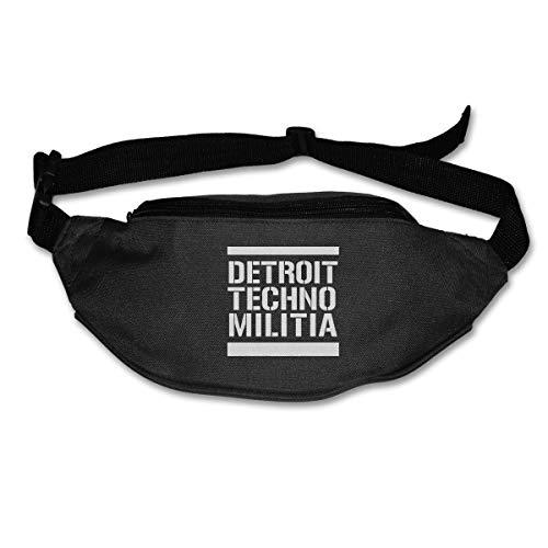 HKUTKUFGU Bauchtasche für Damen und Herren Detroit Techno Militia Taillentasche Reisetasche Geldbörse Bauchtasche für Laufen Radfahren Wandern Workout