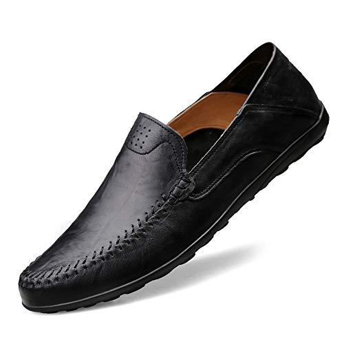 NIIVAL Herren Mokassins Klassischer Halbschuh Echtleder Loafers Herren Slipper Komfort Fahren Halbschuhe (44 EU, schwarz)
