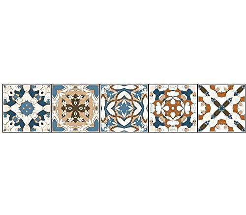 Pegatinas de azulejos Striscia di illustrazione di fiori in stile europeo Azulejos Pegatina para baños cocinaImpermeable autoadhesivo Borde decorativo 10X50cmX1pcs