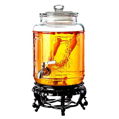 8 litros Botella De Vino Grande, Barriles De Vino Transparente Vidrio con Grifo Y Soporte Sellado Cubo De Vino para Restaurante Papa Barra Tarje De Masón
