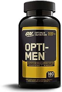 Optimum Nutrition ON Opti-Men. Suplemento Multivitamínico. Multivitaminas y Minerales para Hombres con BCAA. Glutamina. Vitamina C. Zinc y Magnesio. sin sabor. 60 porciones. 180 Cápsulas