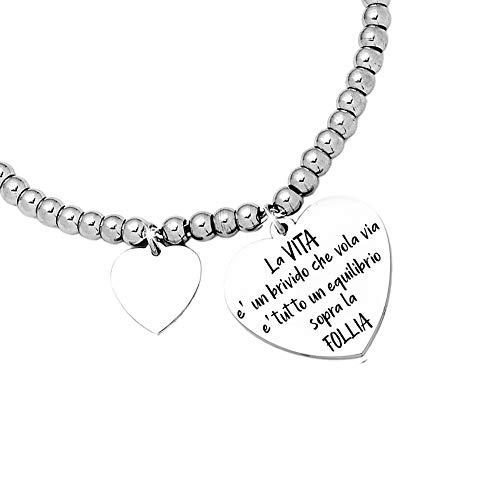 Beloved Bracciale da donna, braccialetto in acciaio emozionale - frasi, pensieri, parole con charms - ciondolo pendente - misura regolabile - incisione - argento (BL1)