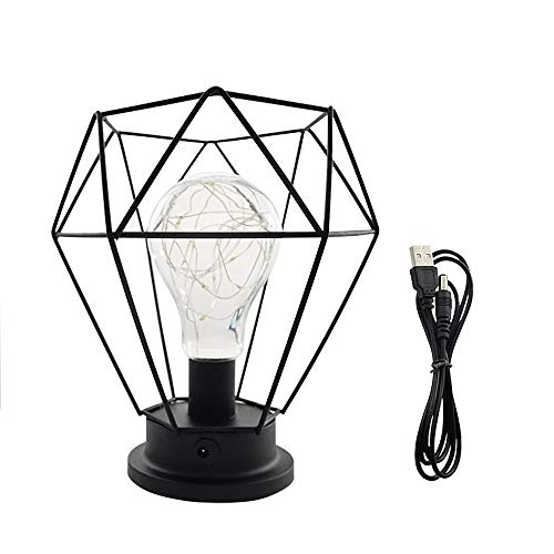 Diamant Nachttischlampe Tischlampe Nordische Draht Deko Metall Night Light USB LED Schreibtischlampe batteriebetrieben Warmweiß, schwarz