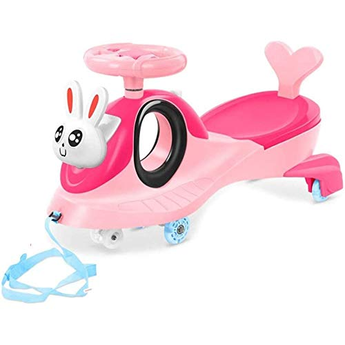 HengYue Swing Car Pink, Ride On Car Children'S Twisted Universal Wheel Swing Car 1-3-6 Years Old Baby Toy Twisted Sliding Yo Car