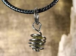 Titanium Real Moldavite Cage Pendant,Genuine Moldavite Pendant, Meteorite Jewelry, Green Tektite, Moldavite Necklace,