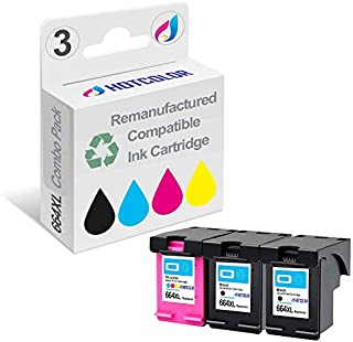 HOTCOLOR 3 Pack 664XL Ink Cartridge F6V30AB F6V31AB (2 Black 1 Color) for DeskJet 1115 2136 3636 3836 4536 4676 Printer