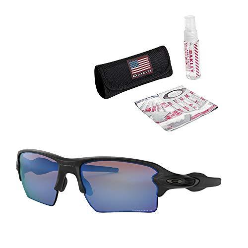 Oakley Flak 2.0 XL Sunglasses (Matte Black Frame/Prizm Deep H2 O Polarized Lens) with USA Flag Lens Cleaning Kit
