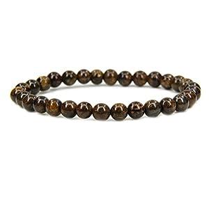 Amandastone Natural Bronzite 6mm Round Beads Stretch Bracelet 7 Inch
