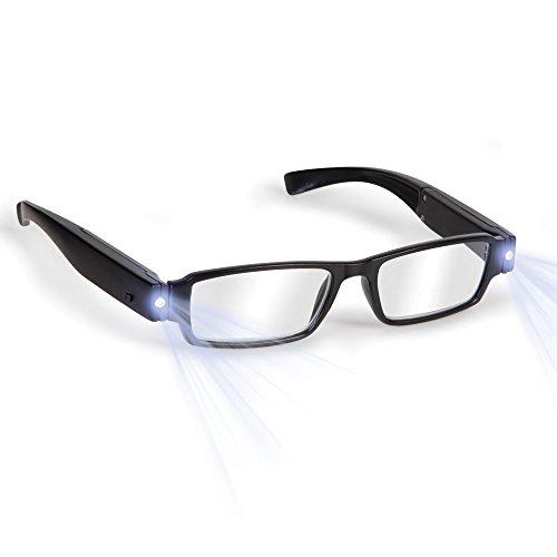 Boolavard® TM Schwarz LED Brille alterssichtigen Lesebrille mit LED Licht macht/Dioptrien; + 1,0 + 1,5 + 2,0 + 2,5 + 3,0 UPICK