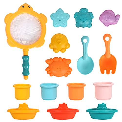 Think Wing 15Pcs Baby Bath Toys for Toddlers Pool Toys for 1 2 3 Years Old Kids Beach Toys for Baby Boys Girls Floating Boats Stacking Cups Bathroom Toys Set Gift for Kids …