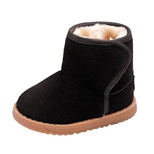 LvRao Winter Baby Schuhe Kinder Mädchen Jungen Klettverschluss Stiefel Warm Schneestiefel (Schwarz, CN 25)