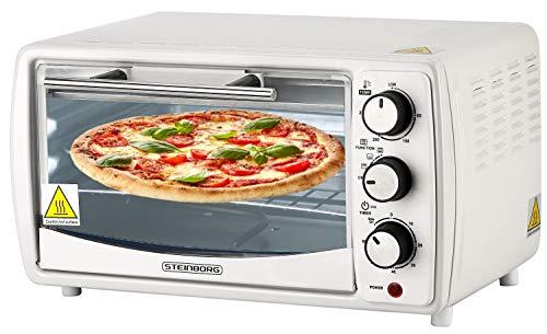 Mini Backofen 13 Liter | 1200 Watt | Pizzaofen | 65°-230°C | Timer | aufklappbares Krümelblech | Minibackofen | Backofen | Kleiner Backofen | Mini Oven