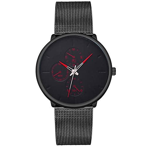 Relojes Casual Classic Fashion Mens Three Eye Business Black Relojes De Lujo Inoxidable Ultradelgado Cinturón De Malla Reloj De Pulsera De Cuarzo para Hombre Rojo