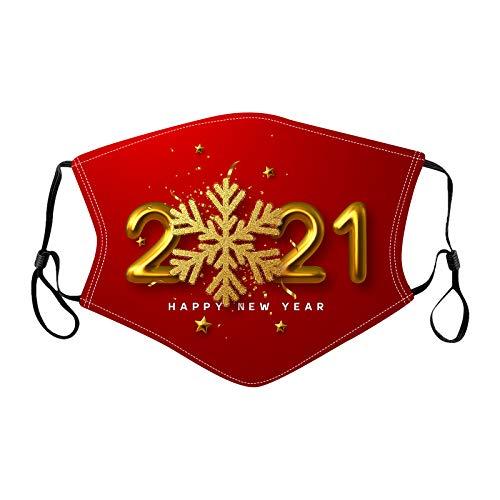 Dwevkeful Mundschutz mit 2021 Neujahr Briefe Bedruckte Baumwolle Bandana Maske Waschbar Atmungsaktiv Staubschutz Multifunktionstuch Halstuch Schlauchtuch für Männer und Frauen