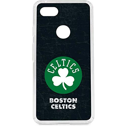 Skinit Clear Phone Case Compatible with Google Pixel 3 XL - Officially Licensed NBA Boston Celtics Black Secondary Logo Design