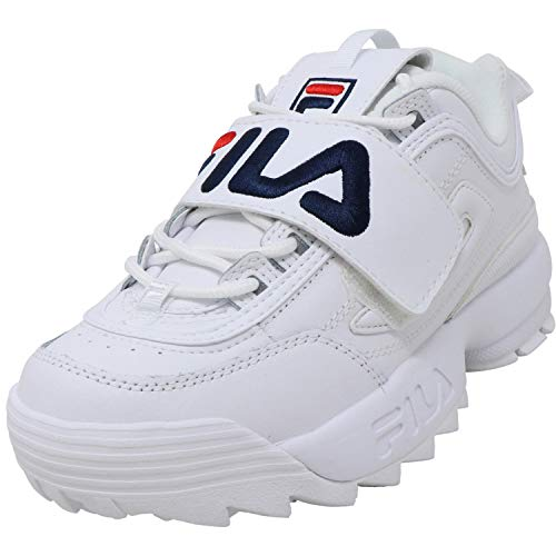 Fila Women's Disruptor Ii Applique White/Navy Red Low Top Leather Running - 9M