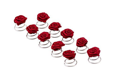 10 x Rosen Curlies - Brauthaarschmuck - Curlie - Haarschmuck | Bordeaux Rot