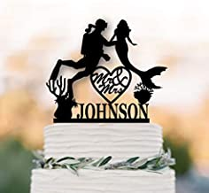 Mermaid personalized Wedding cake topper Scuba Diver wedding cake topper mr and mrs cake topper under the sea party decoration