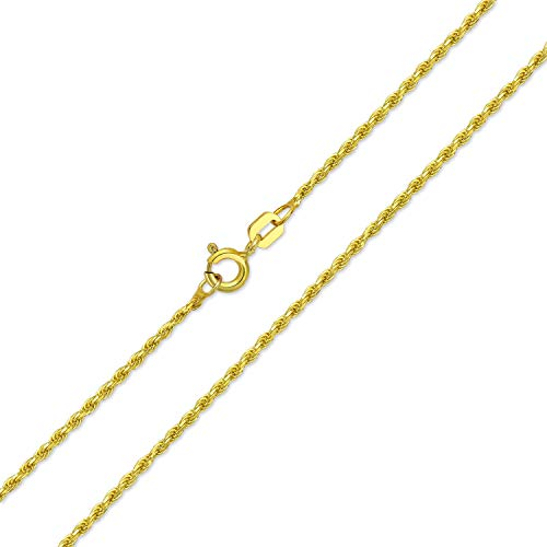 2Mm Calibre 030 Fuerte Chapado En Oro De 14K Cuerda Collar De Cadena De Enlace Mujer Realizados 16 De 20 A