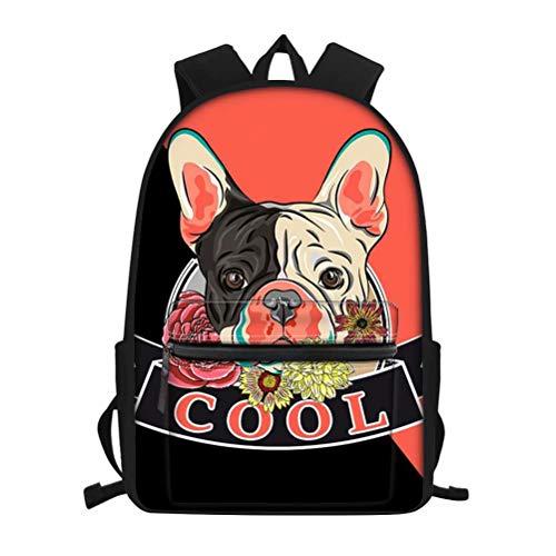 FOR U DESIGNS Kids School Backpack for Girls French Bulldog Print Bookbag Laptop School Bag for Women College Travel Casual Rucksack