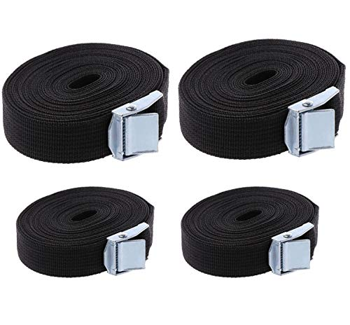 NewZC 4 Pack Lashing Strap 3 m Buckled Straps and 6 m Tensioning Belts Rack Straps 25 mm Width Tie Down Straps-Webbing Strap Cargo Tie-Downs for Buckles Motorcycle/Cargo/Trailer/Truck Hold 250kg–Black