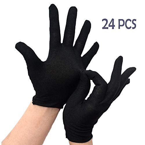 PONOJOKI 12 Paar Schwarz Handschuhe Baumwolle Arbeitshandschuhe Bequee Fellpflege Kosmetische Feuchtigkeit Gartenhandschuhe Futterhandschuh Garten Gloves,24 pcs,L-21CM/8.26