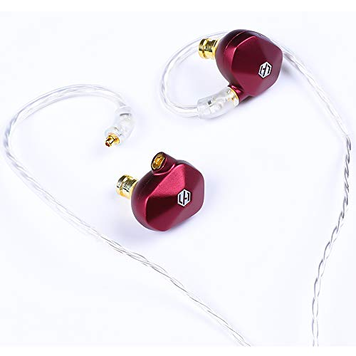 Light Harmonic Mera High Performance Dynamic Driver Noise Isolation in-Ear Monitors Earphones and Headphones with Detachable Cables. (Red)