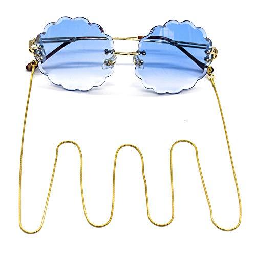 Yhjkvl-AC - Cadenas para Gafas, de Acero Inoxidable, con Revestimiento al vacío, duraderas, de Colores, para Gafas de Sol Dorado Dorado